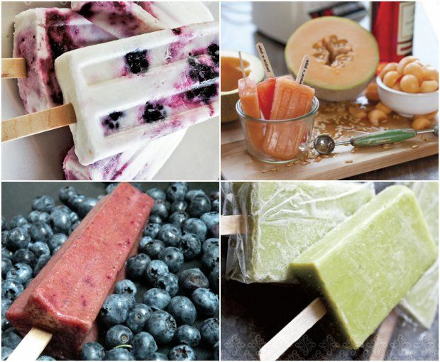 Happiness on a stick! (Clockwise from top left): frozen yogurt ice pops, cantaloupe and Campari ice pops, sweet avocado ice pops, blueberry moonshine popsicles. Recipes make me drool!!!!!  Getting out my Martha Stewart pop maker!