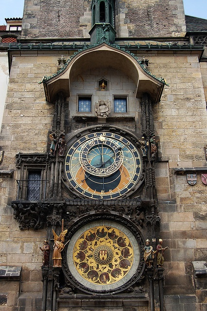 Astronomical Clock; Prague, Czech Republic (note there's a clock like this in PA designed by a man named Engle.)