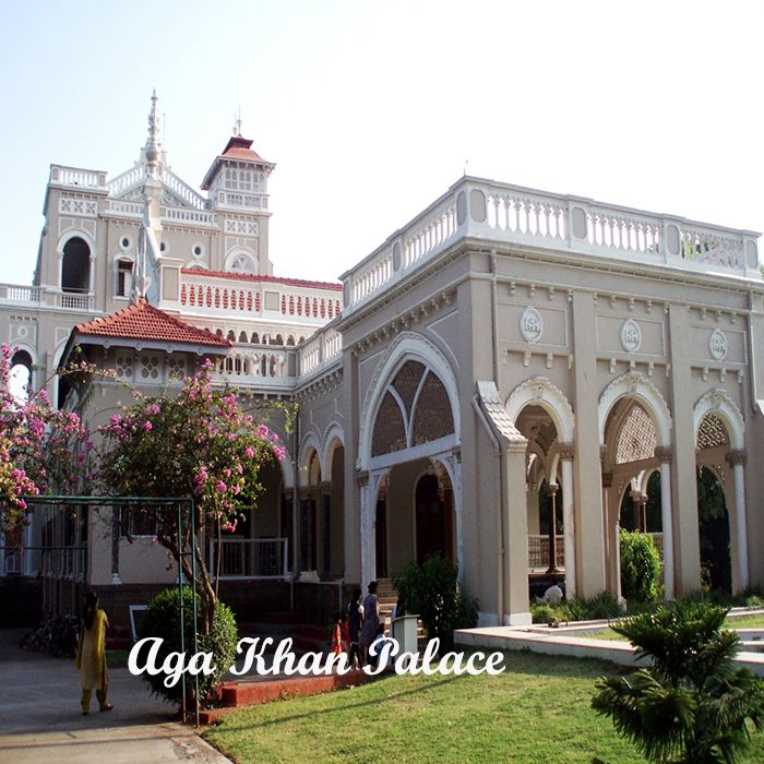 Aga Khan Palace   The Aga Khan Palace is also known as the Gandhi National Museum and is a part of the Indian freedom struggle. It served as a prison for national leaders like Mahatma Gandhi during the Quit India Movement in 1942.The Aga Khan Palace was donated to India by Aga Khan IV during 1969. The museum also serves as a memorial wherein the remains (samadhi) of Mahatma Gandhi's wife, Kasturba Gandhi rest in peace. The palace was built in 1892 by Sultan Mohammed Shah, Aga Khan III.