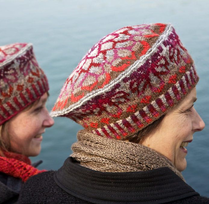 Free Knitting Pattern for Ogiku Chrysanthemum Tam - Sarah Mombert's fair isle beret hat features chrysanthemum motifs. Available in English and French.