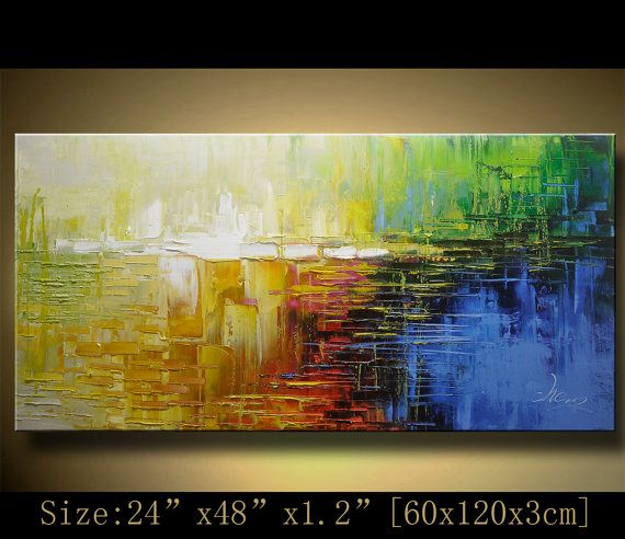 Original Abstract Painting, Modern Textured Painting,Impasto Landscape Textured Modern Palette Knife Painting,Painting on Canvas byChen Size:24x48x1.2[60x120x3cm] Stretched thickness: 1.2 (3cm ) Framed / Stretched ( Ready to hang! ) The sides are staple-free and are painted black. It is ready to hang . Payment Details: we prefer paypal Do remember to leave your phone number in the note field Shipment and Packing charge : By EMS to world-wide Parcel will be shipped out within 1-3 working…