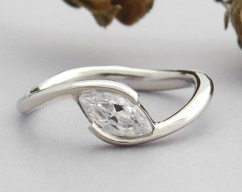 Unique engagement ring Marquise engagement ring by SivanLotan