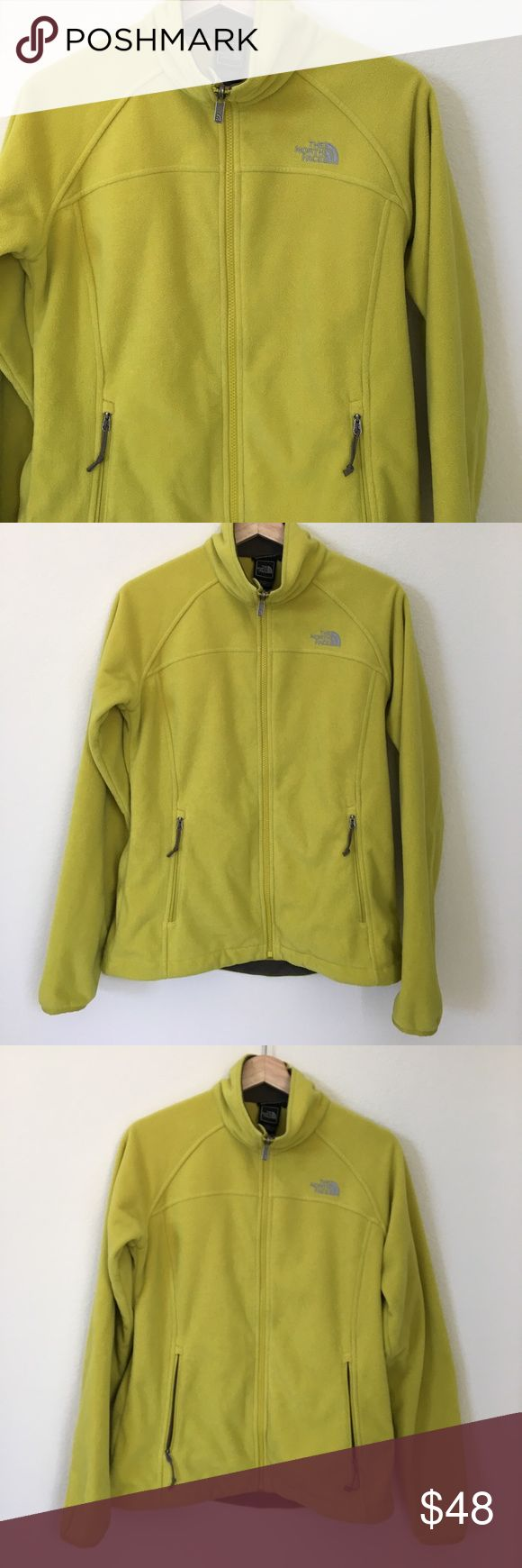 """{ The North Face } fleece jacket The North Face fleece jacket, polartec wind pro, zipper front pockets, inner slip pockets, zipper closure, previously worn with wash and wear to it including color isn't as vibrant and pure, in good condition otherwise. Cozy and comfy. Measures laying flat approx 20"""" pit to pit 24"""" mid shoulder down. The North Face Jackets & Coats"""
