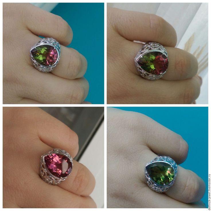 Купить Крупный ажурный перстень Хюррем с султанитом - разноцветный, султанит, перстень с султанитом, султанит в серебре