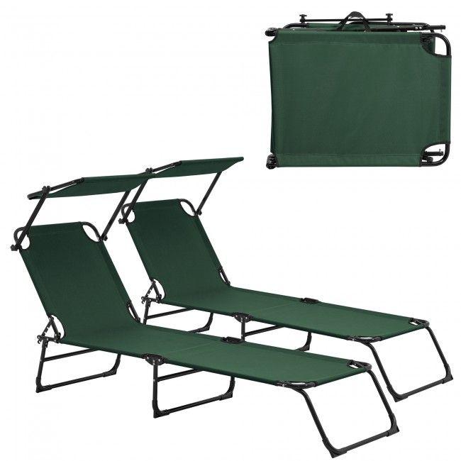[casa.pro] Sonnenliege [2er Set] klappbar 190cm dunkelgrün mit Dach Relaxliege Aluminium