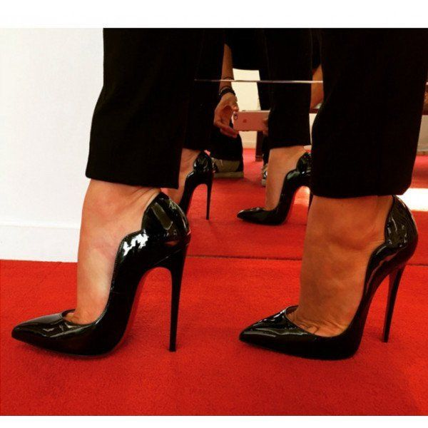 Black Dress Shoes Formal Stiletto Heel Patent Leather Office Heels image 5
