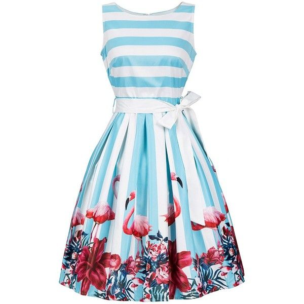 Sleeveless Floral and Striped Dress with Belt ($20) ❤ liked on Polyvore featuring dresses, stripe dresses, blue striped dress, blue print dress, flower print dress and dresses with belts
