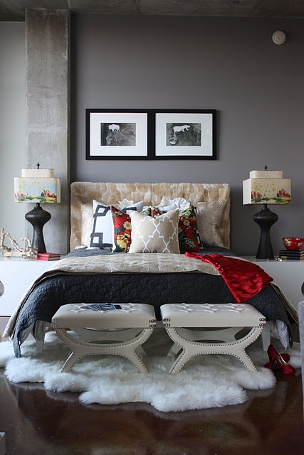 Grey white charcoal red bedroom neutral color palette for Charcoal grey bedroom