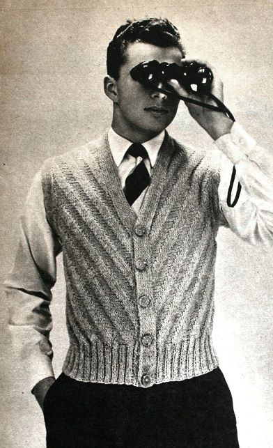 Vintage mens knitting fashion. Beyers Handarbeit und Wäsche 1955 (image scanned by Magdorable)