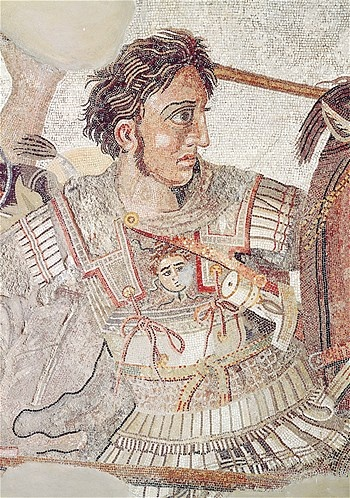 The Alexander Mosaic. This 19-foot-by-10-foot mosaic was discovered in Pompeii. The mosaic depicts the battle of Issus, 333 B.C., between the armies of Alexander the Great and Darius III of Persia.
