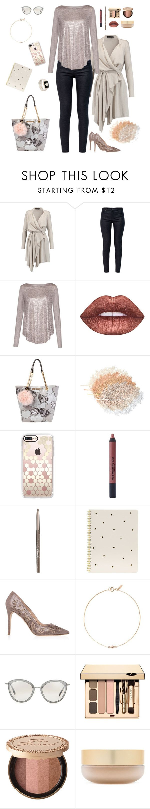"""Champagne Metallic"" by runsonblackcoffee on Polyvore featuring Maria Grachvogel, Ted Baker, Great Plains, Lime Crime, Betsey Johnson, Casetify, Stargazer, Stila, Sugar Paper and Elie Saab"