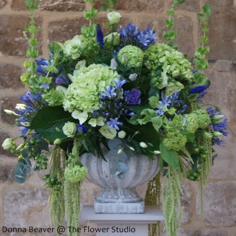 blue and green floral arrangement