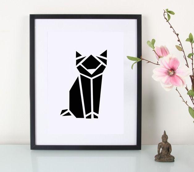 Digitaldruck - Artprint / Origami / Katze - ein Designerstück von Eulenschnitt bei DaWanda