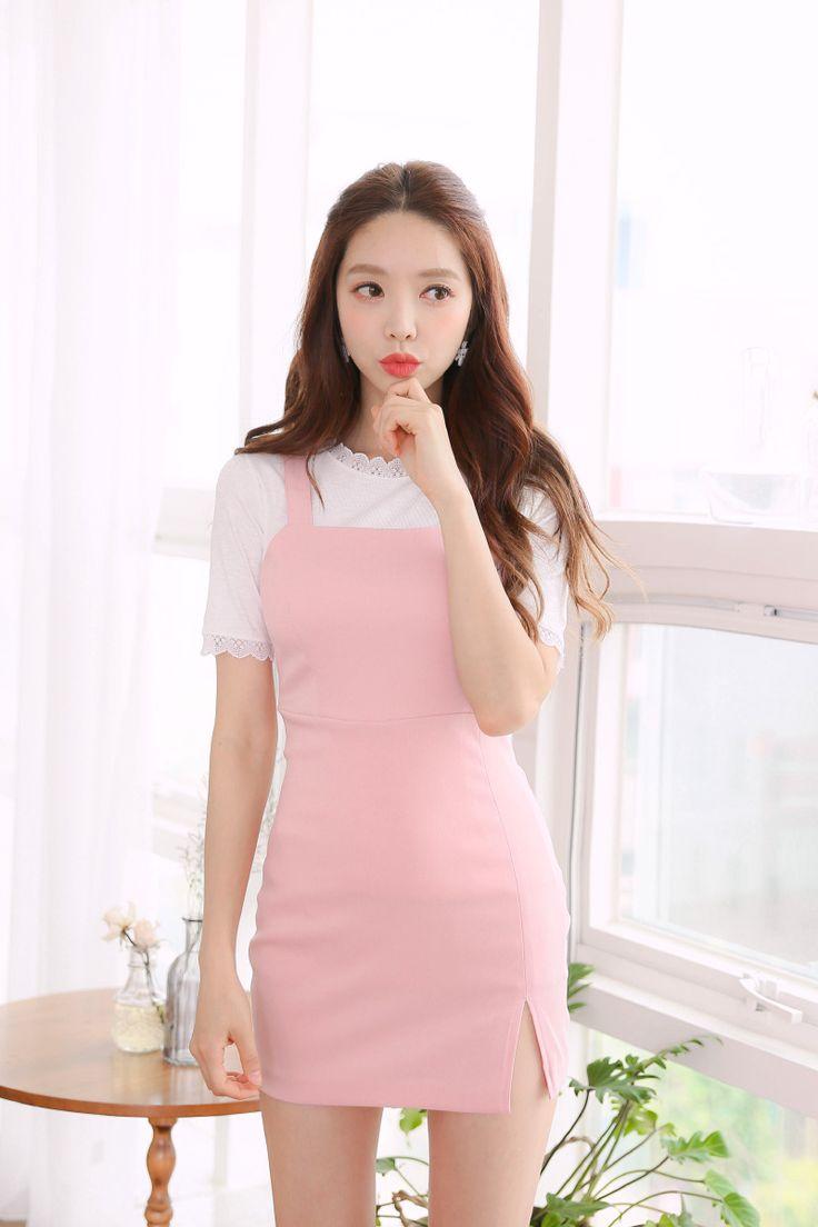 Square Neck Sheath Dress CHLO.D.MANON | #pink #dress #koreanfashion #kstyle #kfashion #cute #seoul #dailylook