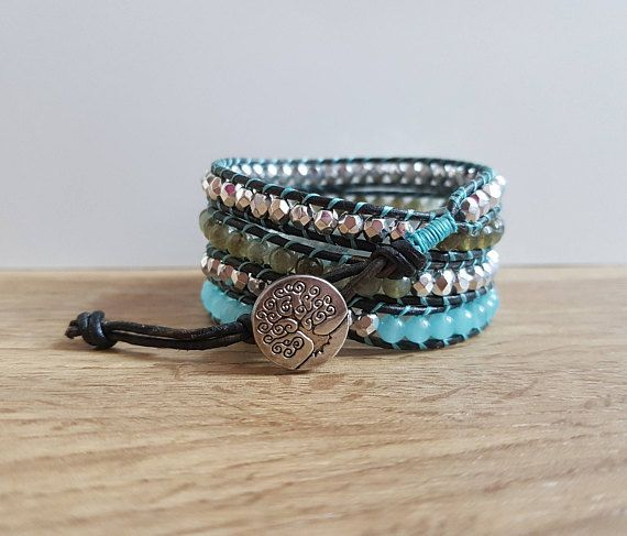 Check out this item in my Etsy shop https://www.etsy.com/uk/listing/472874476/amazonite-and-labradorite-wrap-bracelet