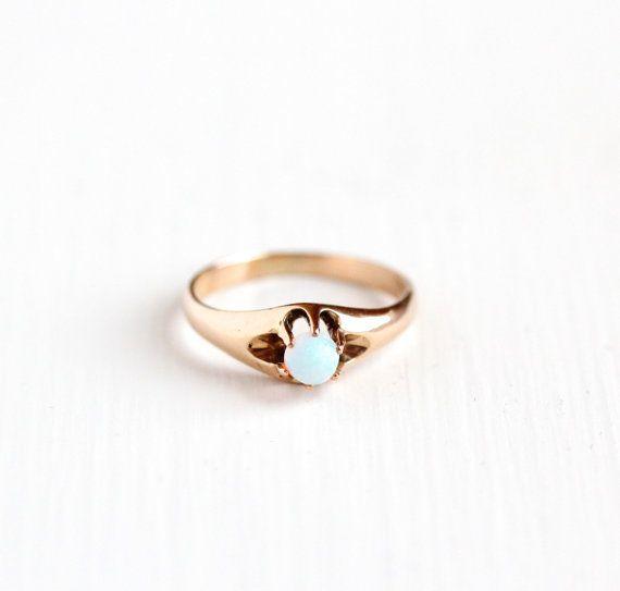 Antique 10k Rose Gold Opal Ring - Vintage Size 5 Edwardian 1910 Colorful Round…
