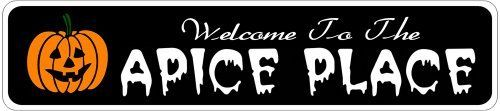 APICE PLACE Lastname Halloween Sign - Welcome to Scary Decor, Autumn, Aluminum - 4 x 18 Inches by The Lizton Sign Shop. $12.99. Great Gift Idea. Predrillied for Hanging. Rounded Corners. Aluminum Brand New Sign. 4 x 18 Inches. APICE PLACE Lastname Halloween Sign - Welcome to Scary Decor, Autumn, Aluminum 4 x 18 Inches - Aluminum personalized brand new sign for your Autumn and Halloween Decor. Made of aluminum and high quality lettering and graphics. Made to last for years out...