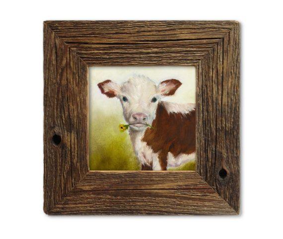 Cow Art Print, Nursery Art, Rustic Decor, Kids Wall Art