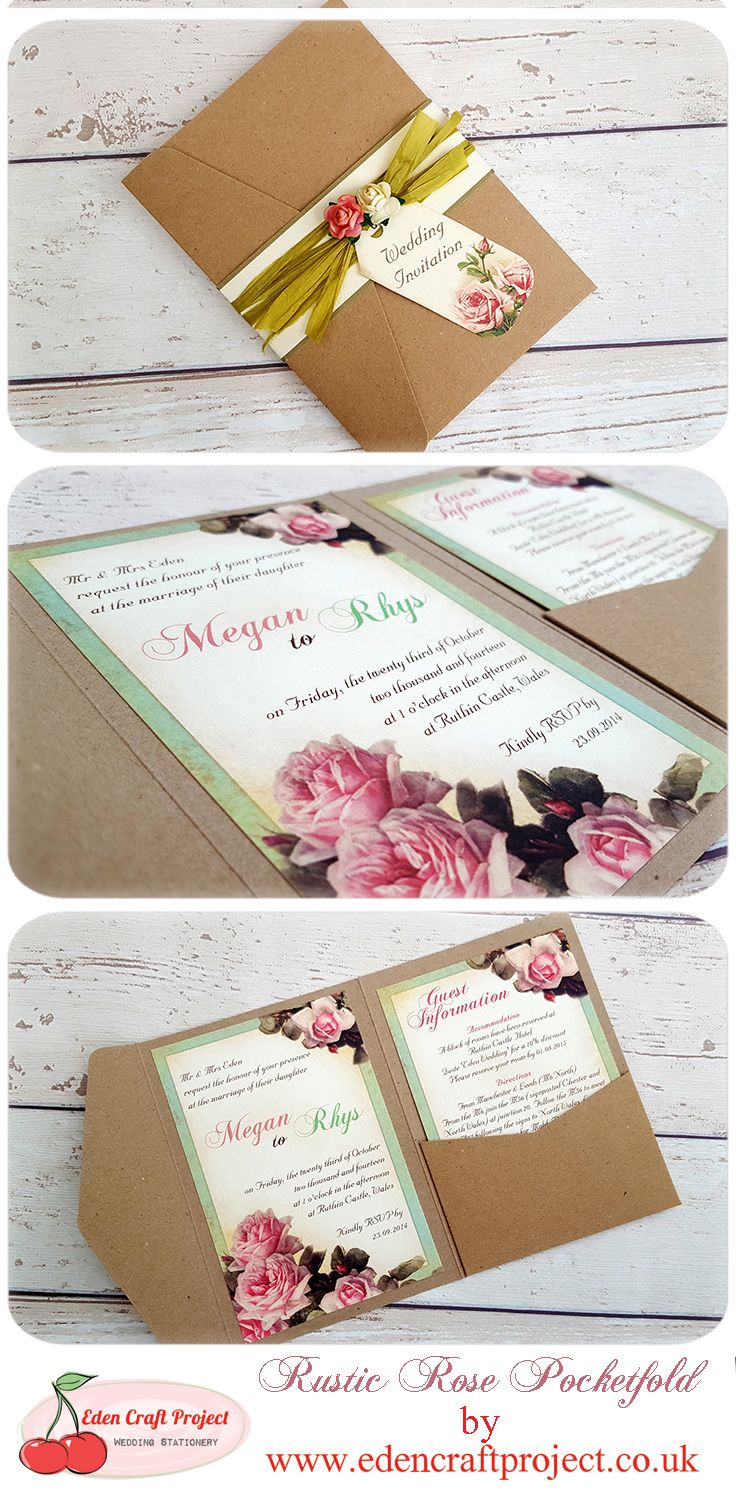 Vintage Rose Wedding Invitation Perfect For Shabby Chic Rustic