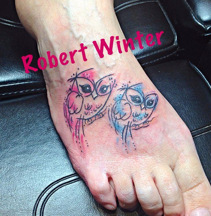 Watercolor owl foot tattoo for women by Robert Winter