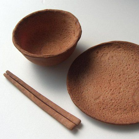 Japanese designer Nobuhiko Arikawa of Rice-Design has created edible tableware for Orto Cafe in Japan. The plates, bowls and chopsticks are intended to replace disposable paper tableware. The pieces are made from hardtack, a biscuit dough made from flour, water and salt which was traditionally used as dry emergency rations at sea. The biscuits will
