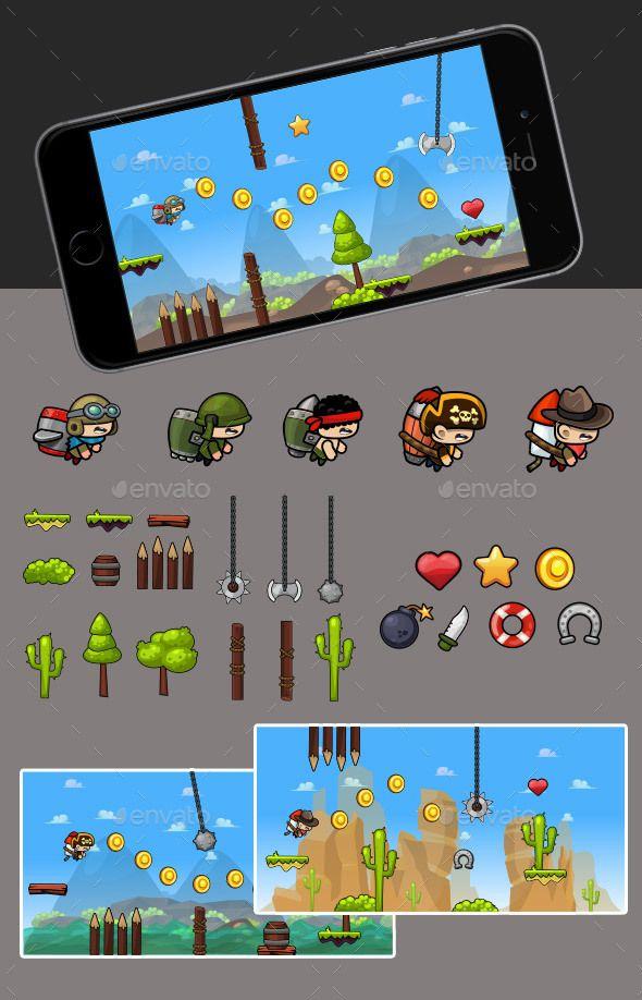 Jetpack Game - Game Kits | DOWNLOAD: https://graphicriver.net/item/jetpack-game/19994687?ref=sinzo #Game #Assets