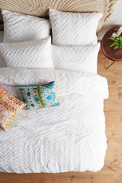 Anthropologie Textured Chevron White Duvet Bedding