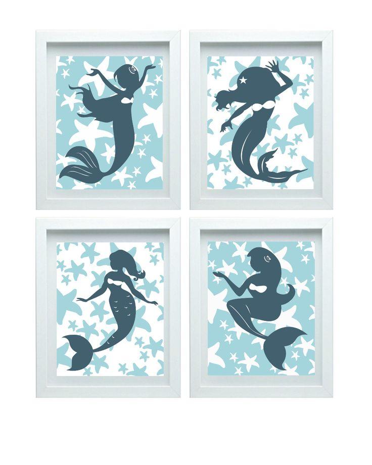 Mermaid Wall Decor, Mermaid Art Nursery Art, Teal Wall Art, Girl Room Decor, Set of 4 - 8x10 Baby Girl Room Decor by FMDesignStudio on Etsy https://www.etsy.com/listing/210042917/mermaid-wall-decor-mermaid-art-nursery