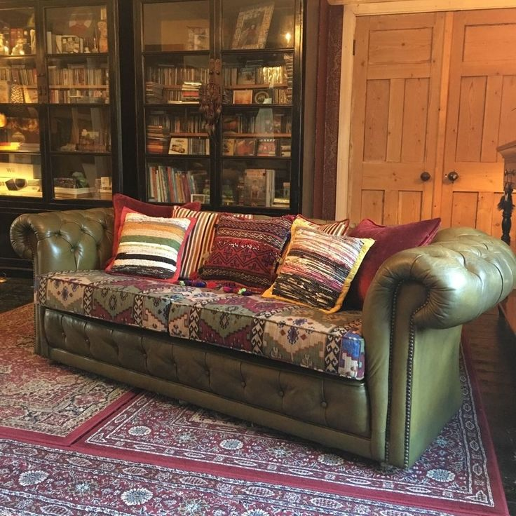 Vintage Boho Green Leather Chesterfield Sofa  New upholstered Aztec Cushions  Sofa  fabric