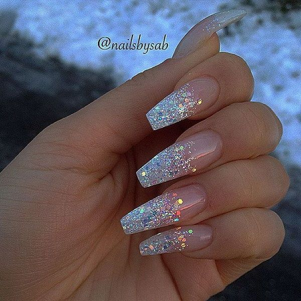 Holo Glitter Tip Long Coffin Nails.