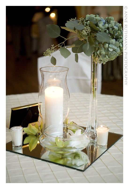 Candle Centerpieces On A Budget Candle In A Hurricane With Greens In A Tall Vase