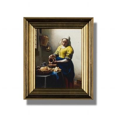 'The Milkmaid'   Johannes Vermeer, 'The Milkmaid' (c. 1660)  Oleograph (colour print with painted relief), 24x19 cm, in gilt wooden frame 34x29x4 cm