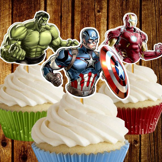 Vengadores Cupcake Toppers / toppers cupcake de superhéroe / - Visit to grab an amazing super hero shirt now on sale