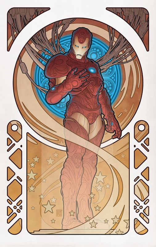 Superheroes in Art Nouveau Style: Iron Man by Johnny Tyler Christopher