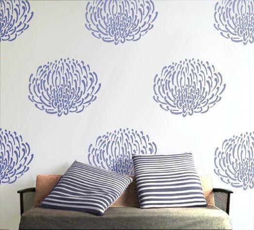 Stencil for walls, Reusable - PIN CUSHION PROTEA Flower- Easy Home Decor/Wall Art. #protea