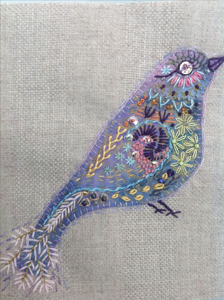 hand stitched bird #embroidery