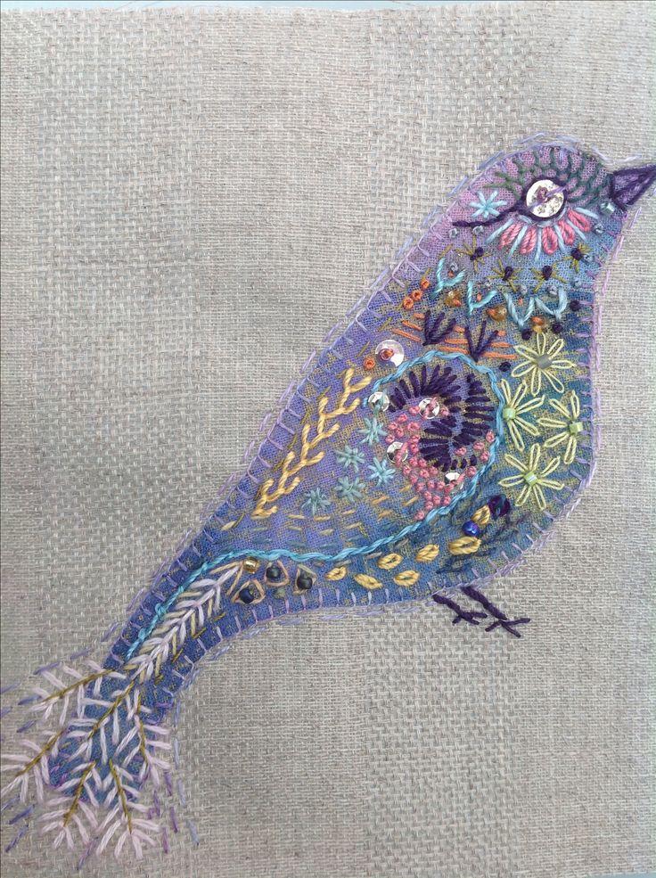 Handstitched crazy bird 2014