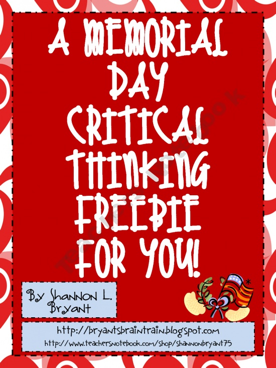 Memorial Day Critical Thinking FREEBIE