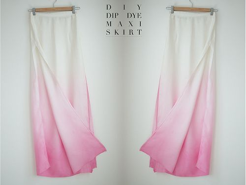 A PAIR AND A SPARE DIY DIP DYE SKIRT by apairandaspare, via Flickr. - I wouldn't make the skirt from scratch, but I would definitely buy one and do this.