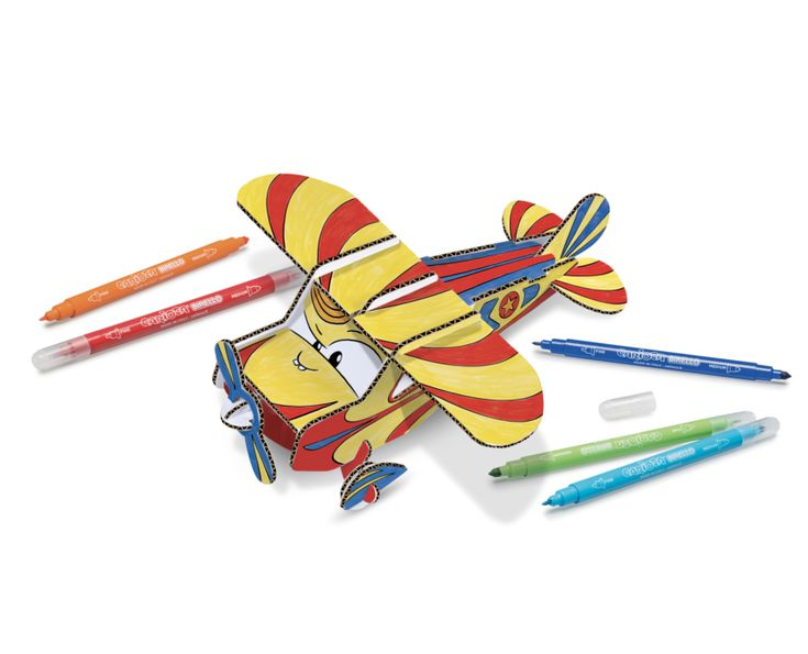 Mr Plane, 3d Funny Pop-Up models to color and assemble. Enjoy the adventure with your new travel companions
