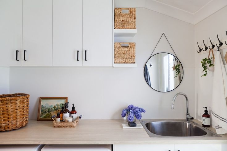 from dated 70s brown tile to a light and bright laundry | House Nerd.