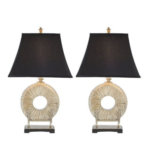 safavieh gabriella circle lamp set of 2 silver neck with black satin shade click image twice for more info see a larger selection of table lamp sets