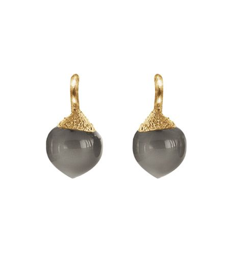 Ole Lynggaard Copenhagen Dew Drop Earrings (small) Grey Moonstone cabochon drops in 18ct yellow gold - Kennedy Jewellers