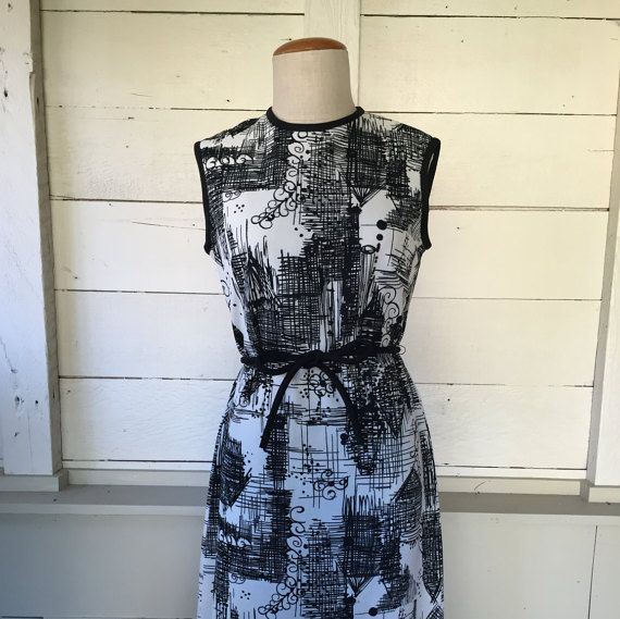 1960s L'Aiglon Scribble Abstract Print Shift by FrockandFrolic