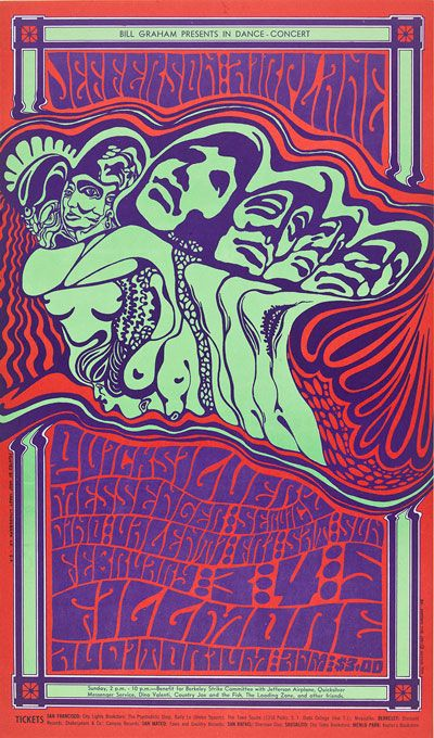 """This Wes Wilson poster for a 1967 Jefferson Airplane/ Quicksilver Messenger Service concert is among the pieces on display in the """"Visual Trips"""" exhibit. Collection of Teresa and Paul Harbaugh"""