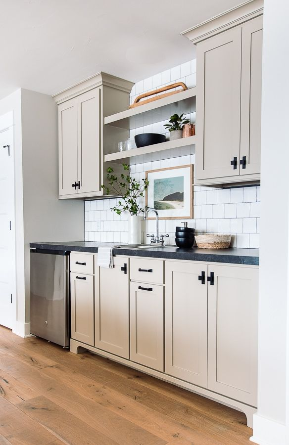 Putty Colored Cabinets And Cabinet Painting Tips The Lilypad Cottage In 2020 Beige Kitchen Beige Kitchen Cabinets Taupe Kitchen Cabinets