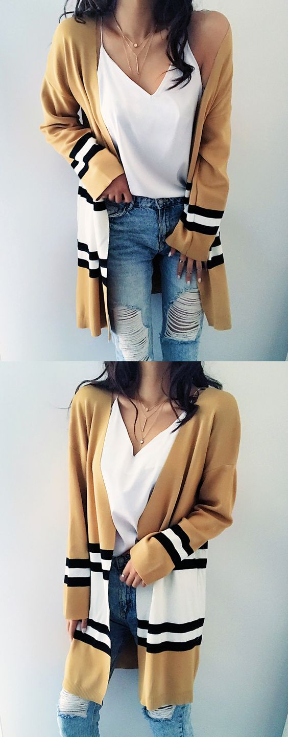 $33.99 Chicnico Street Fashion Striped Loose Cardigan --- Get ready for Fall fashion! Find fashionable outfits for the new season at www.chicnico.com.