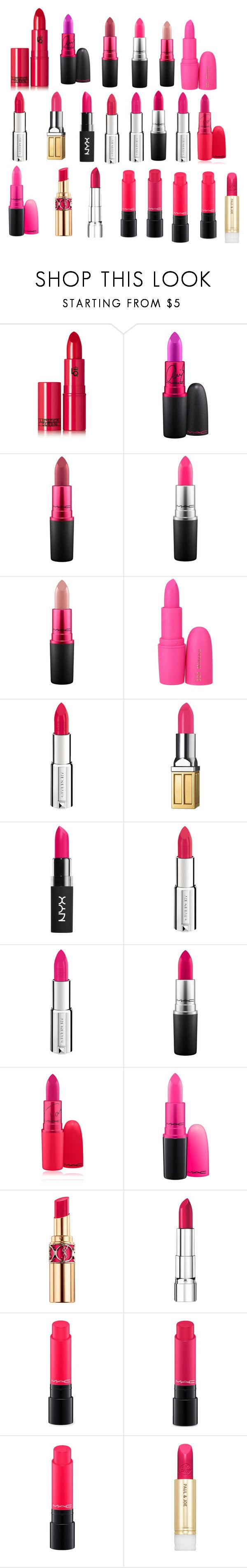 """lipstik"" by newberry2008 ❤ liked on Polyvore featuring beauty, Lipstick Queen, MAC Cosmetics, Givenchy, Elizabeth Arden, NYX, Yves Saint Laurent, Rimmel and Paul & Joe"