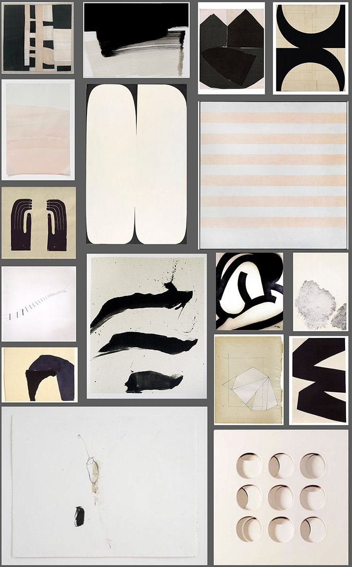 A graphic yet minimal gallery wall curated with art from Cy Twombly, Agnes Martin, Ellsworth Kelly, Sharon Etgar, Suzan Frecon and more | DeSmitten Design Blog