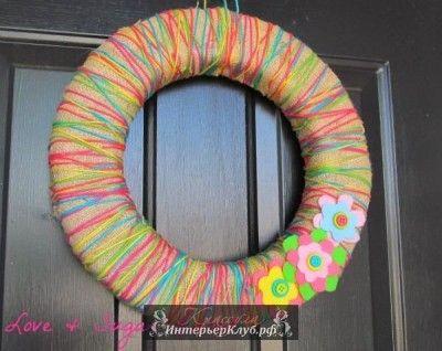 Венок на дверь своими руками идеи, весенние венки на дверь своими руками, декоративный венок на д
